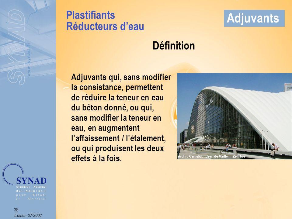 Édition 07/2002 39 Adjuvants Mode demploi Produits introduits dans leau de gâchage.