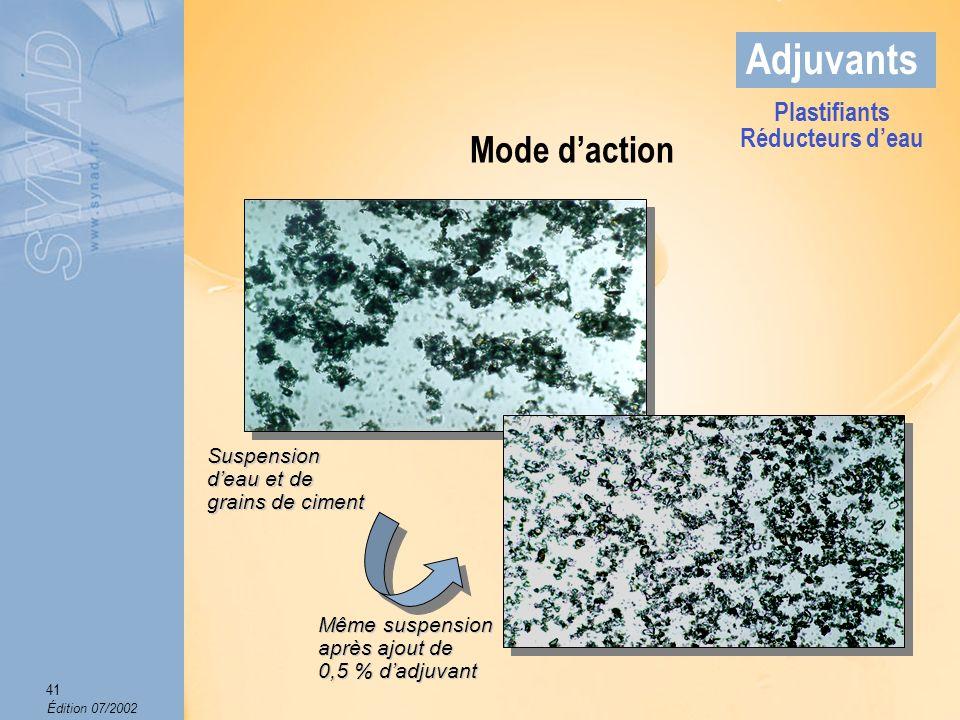 Édition 07/2002 42 Adjuvants Effets sur le béton frais Amélioration de louvrabilité.