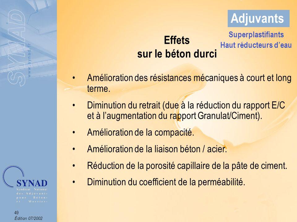 Édition 07/2002 50 Adjuvants Domaines dapplications Les bétons de préfabrication.
