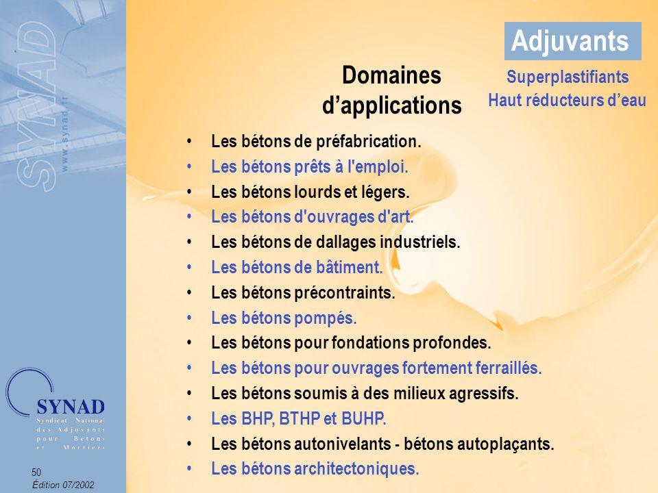 Édition 07/2002 51 Adjuvants Domaines dapplications Superplastifiants Haut réducteurs deau Arch.