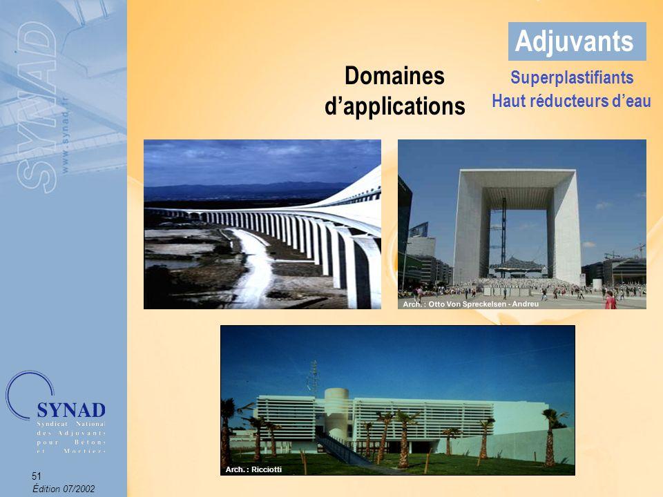 Édition 07/2002 52 Adjuvants Définition Adjuvants qui diminuent le temps de début de transition du mélange pour passer de létat plastique à létat rigide.