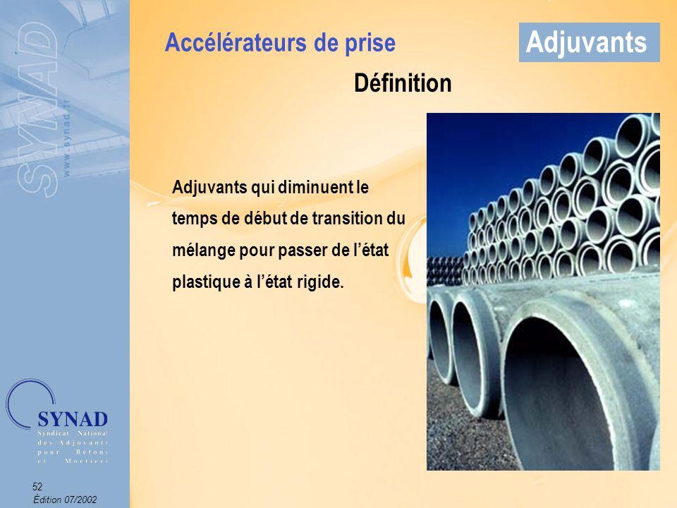 Édition 07/2002 53 Adjuvants Mode demploi Produit introduit dans leau de gâchage.