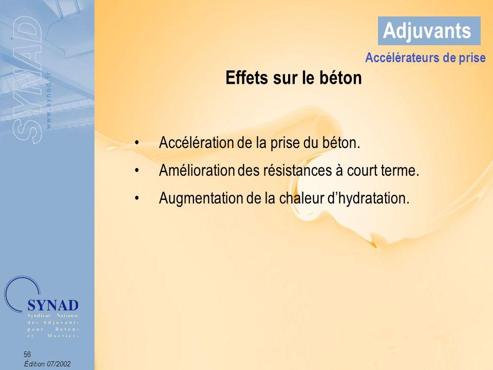 Édition 07/2002 57 Adjuvants Domaines dapplications Le bétonnage par temps froid.
