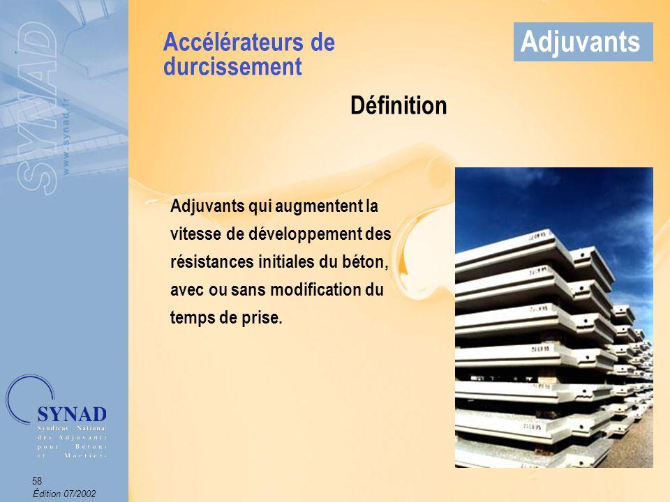 Édition 07/2002 59 Adjuvants Mode demploi Produit introduit dans leau de gâchage.