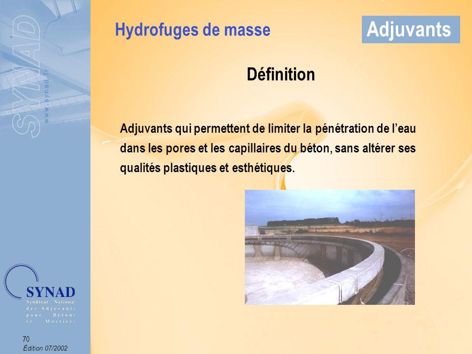 Édition 07/2002 71 Adjuvants Mode demploi Produit introduit dans leau de gâchage.