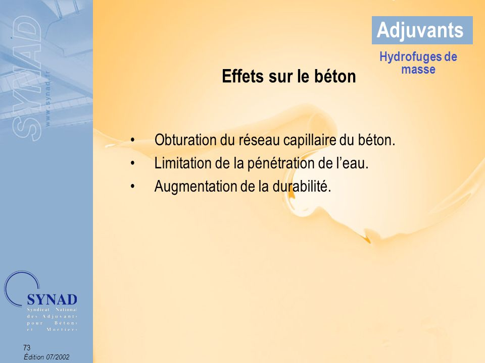 Édition 07/2002 74 Adjuvants Domaines dapplications Les bétons de fondation.