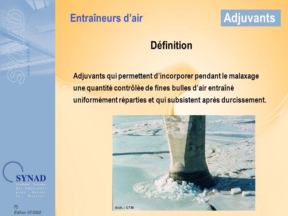 Édition 07/2002 76 Adjuvants Mode demploi Produit introduit dans leau de gâchage.