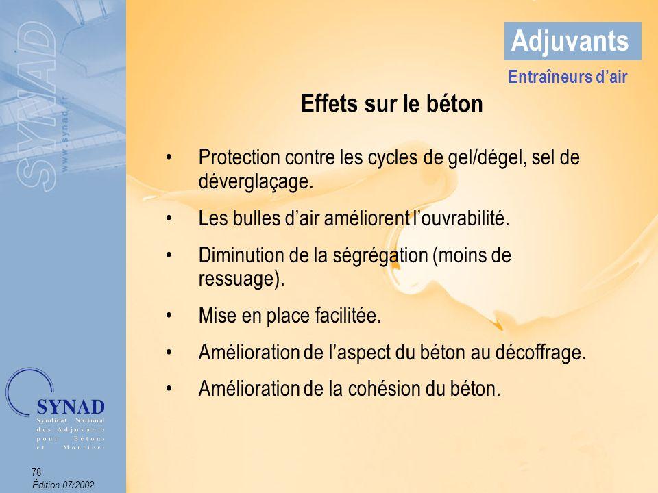 Édition 07/2002 79 Adjuvants Domaines dapplications Les bétons douvrages dart exposés aux cycles gel/dégel (de préférence associés à un superplastifiant).