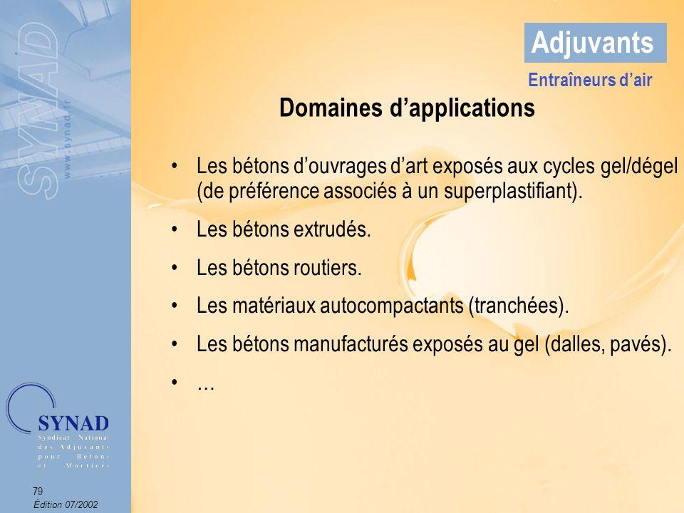 Édition 07/2002 80 Adjuvants Domaines dapplications Entraîneurs dair