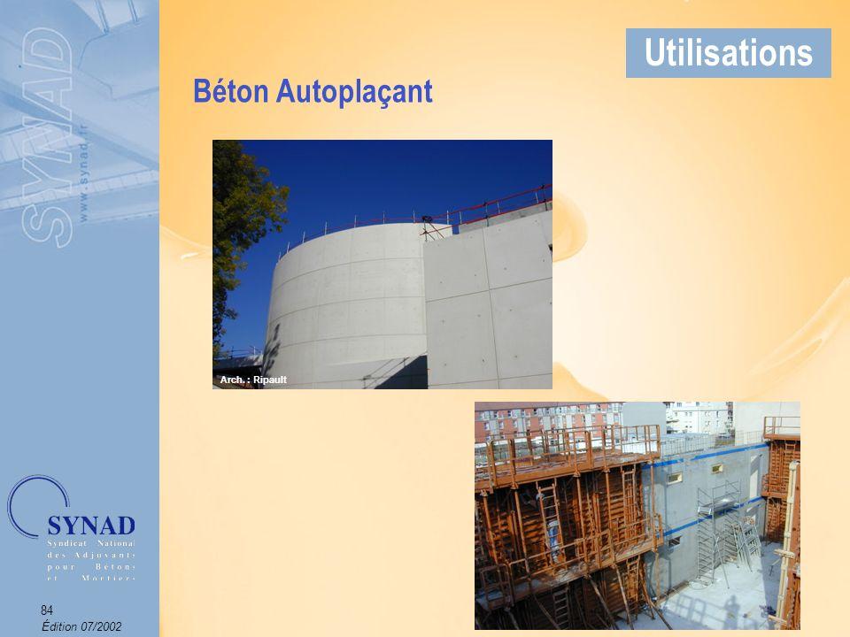 Édition 07/2002 85 Applications Béton Autonivelant (BAN) Utilisations