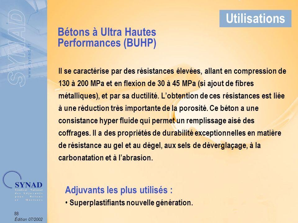 Édition 07/2002 89 Applications Béton fibré Exemples dapplications ApplicationsExemples dapplications Applications Béton à Ultra Hautes Performances Utilisations