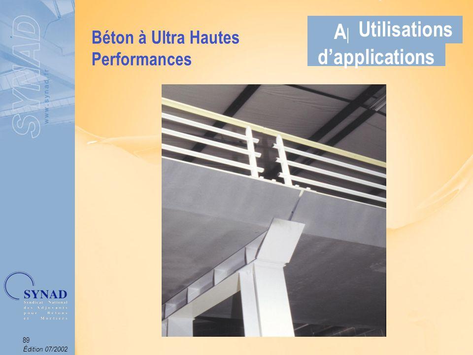 Édition 07/2002 90 Applications Béton à base de fibres (métalliques et/ou synthétiques) qui permet de limiter la fissuration des ouvrages et daméliorer la tenue au feu des bétons.