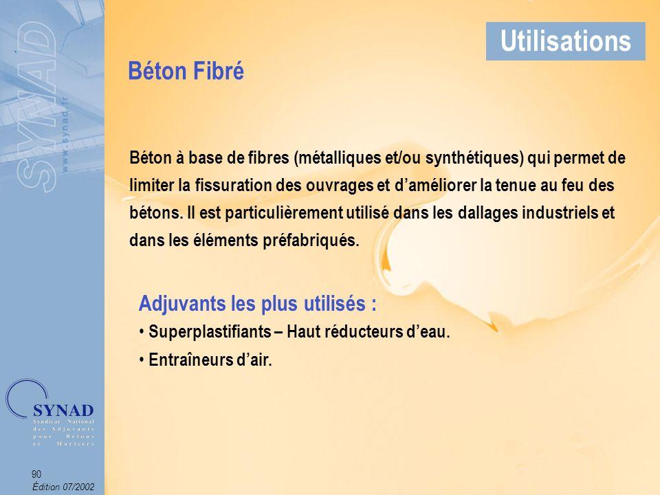 Édition 07/2002 91 Applications Béton Fibré Utilisations