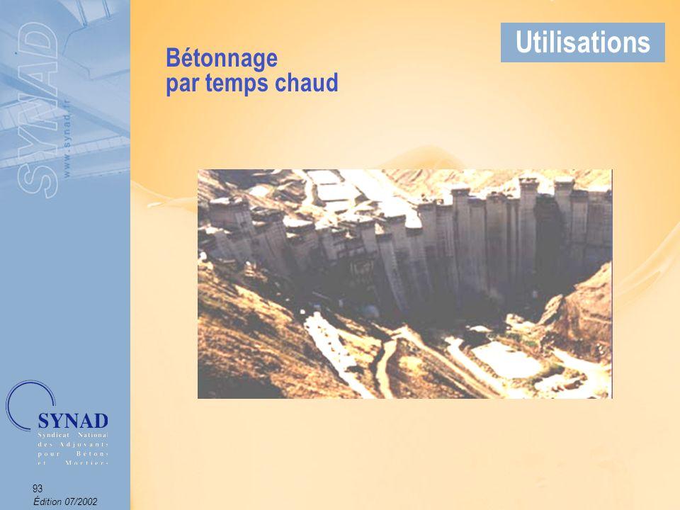 Édition 07/2002 94 Applications On parle de mise en place de béton par temps froid lorsque la température du béton descend en dessous dun seuil critique (entre 5°C et 8°C selon les classes de ciments).