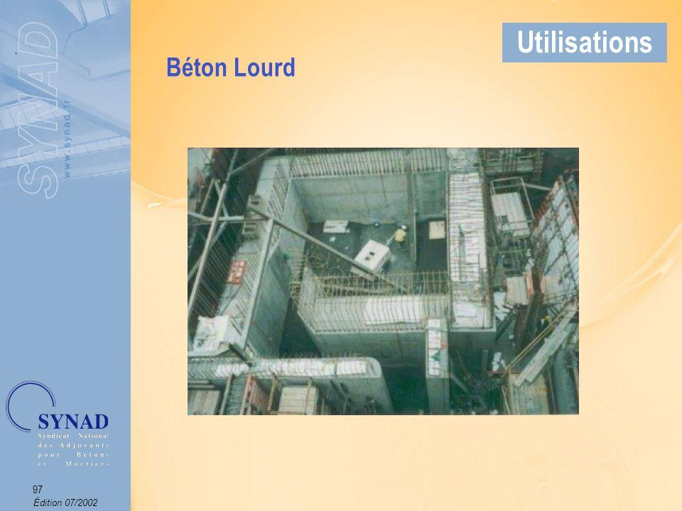 Édition 07/2002 98 Applications Béton dont la masse spécifique des granulats est inférieure à celle des granulats couramment utilisés (soit entre 1 et 1,2 kg/dm 3 ).