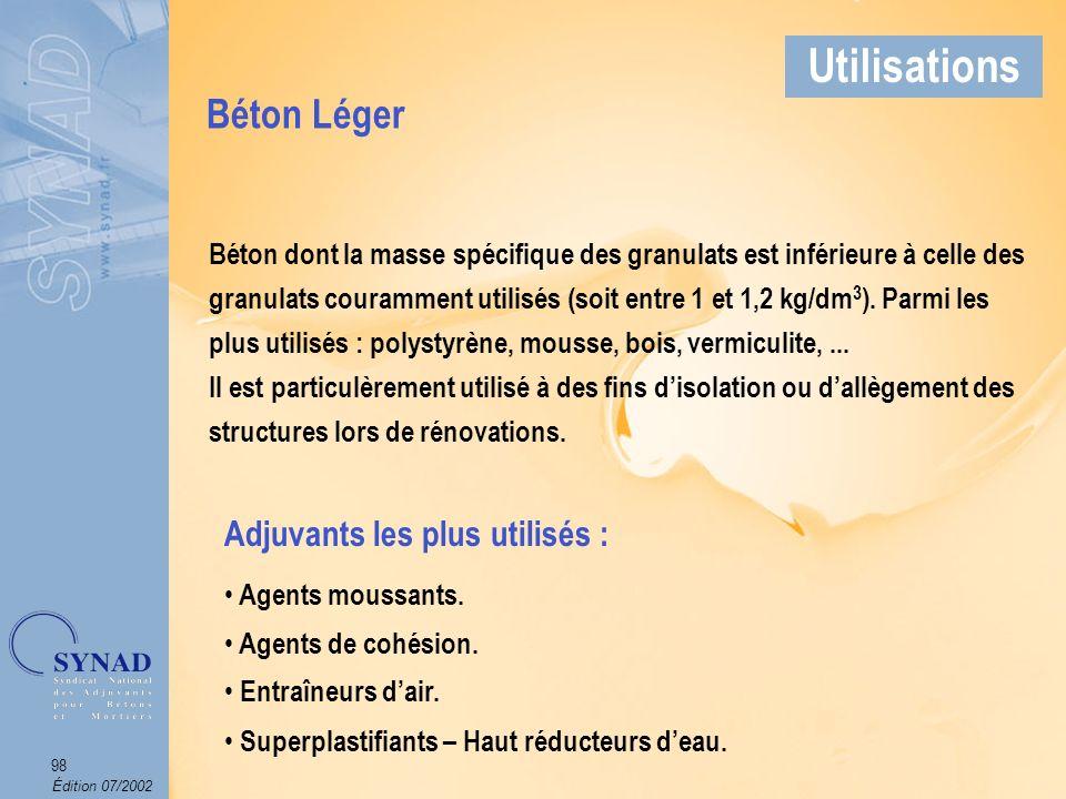 Édition 07/2002 99 Applications Béton Léger Utilisations
