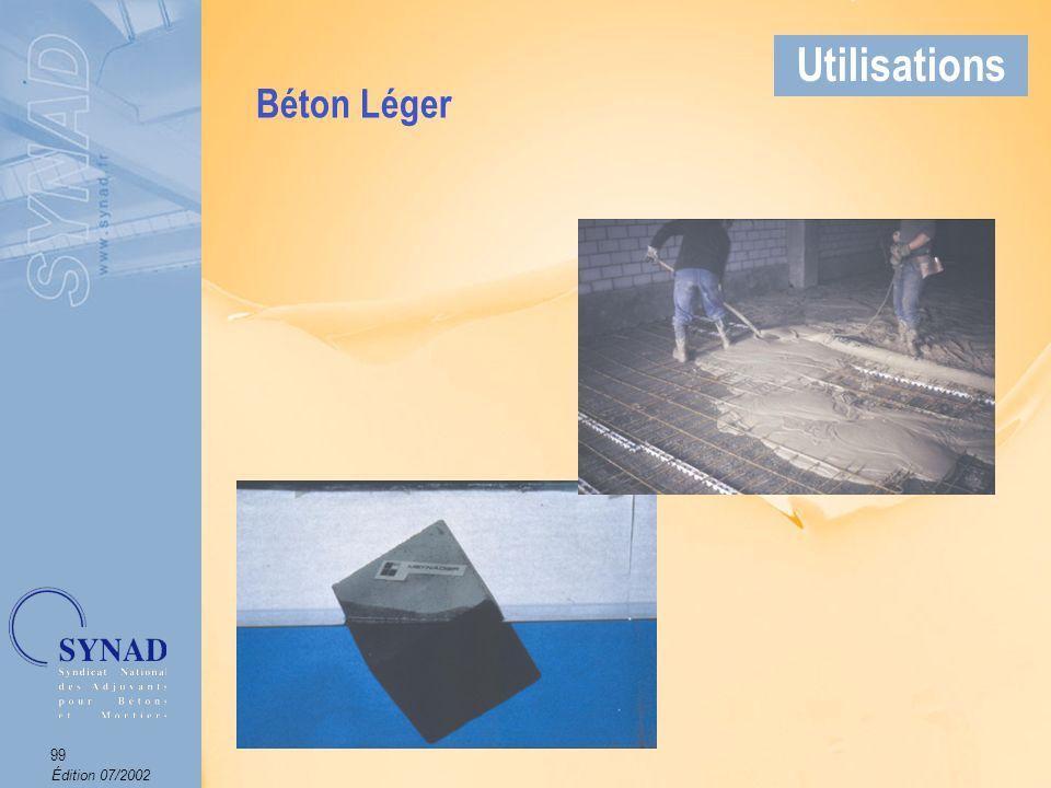 Édition 07/2002 100 Applications Béton utilisé là où la porosité du béton doit être la plus faible possible (tunnels, piscines, stations dépuration,…).