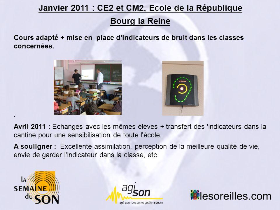 Janvier 2011 : CE2 et CM2, Ecole de la République Bourg la Reine Cours adapté + mise en place d indicateurs de bruit dans les classes concernées..
