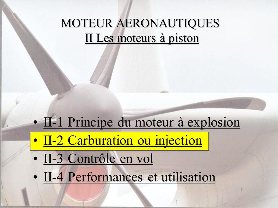 MOTEUR AERONAUTIQUES II Les moteurs à piston II-1 Principe du moteur à explosion II-2 Carburation ou injection II-3 Contrôle en vol II-4 Performances