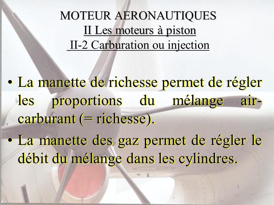 La manette de richesse permet de régler les proportions du mélange air- carburant (= richesse). La manette des gaz permet de régler le débit du mélang