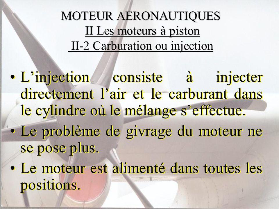 MOTEUR AERONAUTIQUES II Les moteurs à piston MOTEUR AERONAUTIQUES II Les moteurs à piston II-2 Carburation ou injection Linjection consiste à injecter