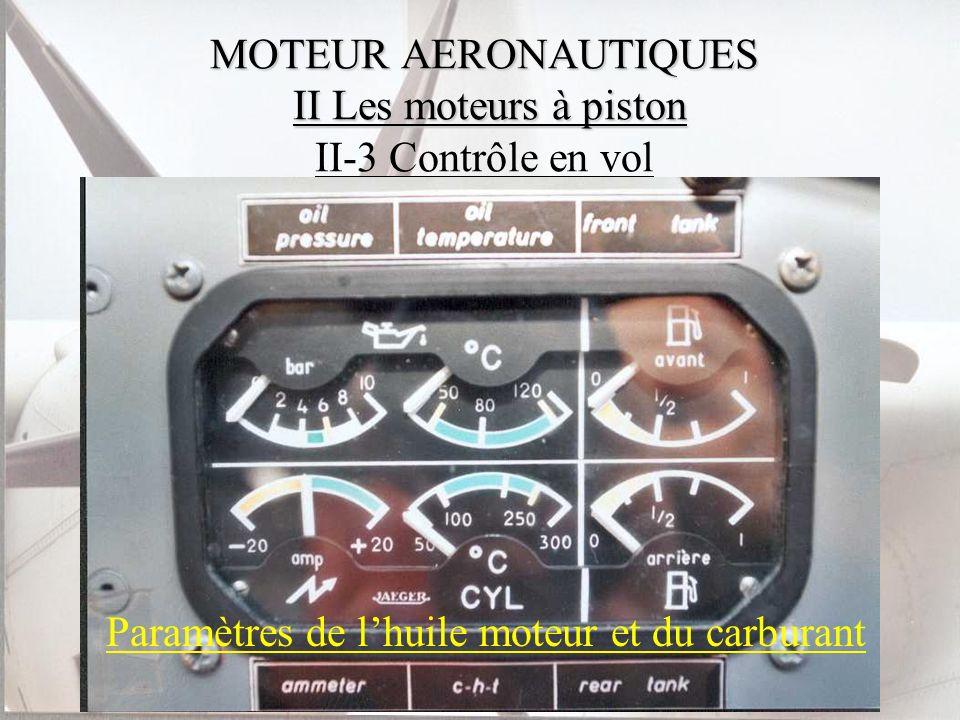 MOTEUR AERONAUTIQUES II Les moteurs à piston MOTEUR AERONAUTIQUES II Les moteurs à piston II-3 Contrôle en vol Paramètres de lhuile moteur et du carbu