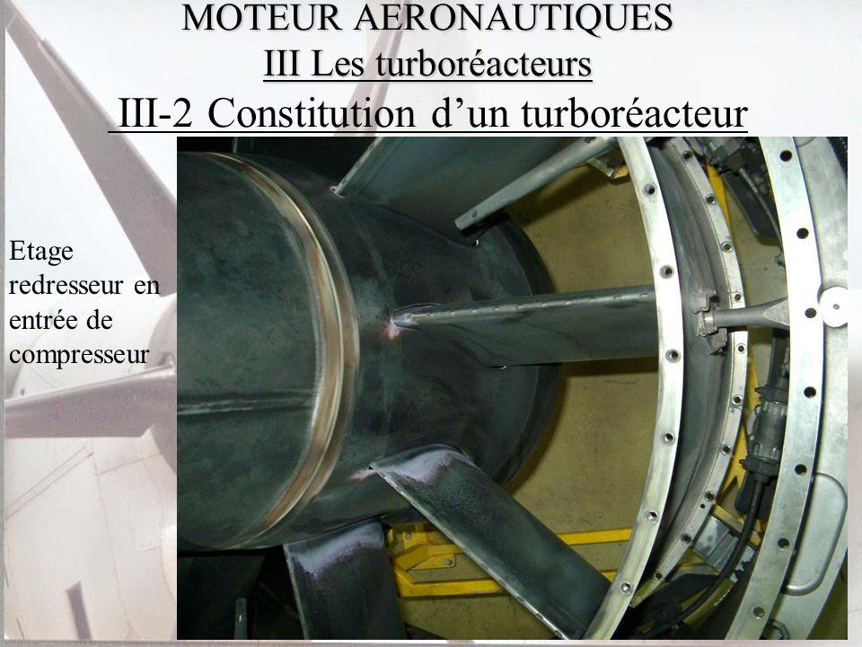 MOTEUR AERONAUTIQUES III Les turboréacteurs MOTEUR AERONAUTIQUES III Les turboréacteurs III-2 Constitution dun turboréacteur Etage redresseur en entré