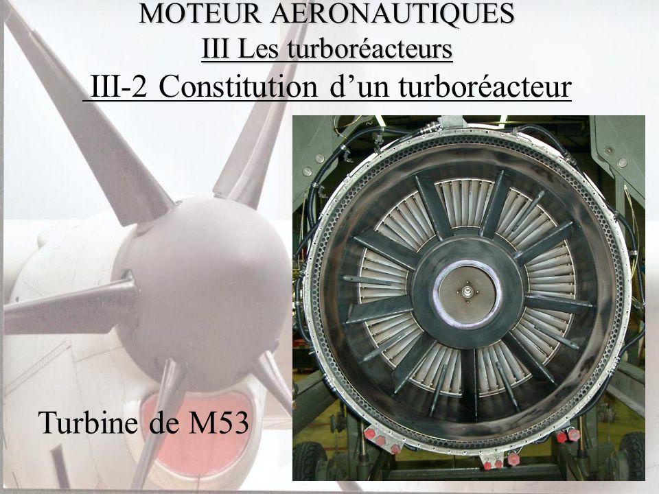 MOTEUR AERONAUTIQUES III Les turboréacteurs MOTEUR AERONAUTIQUES III Les turboréacteurs III-2 Constitution dun turboréacteur Turbine de M53