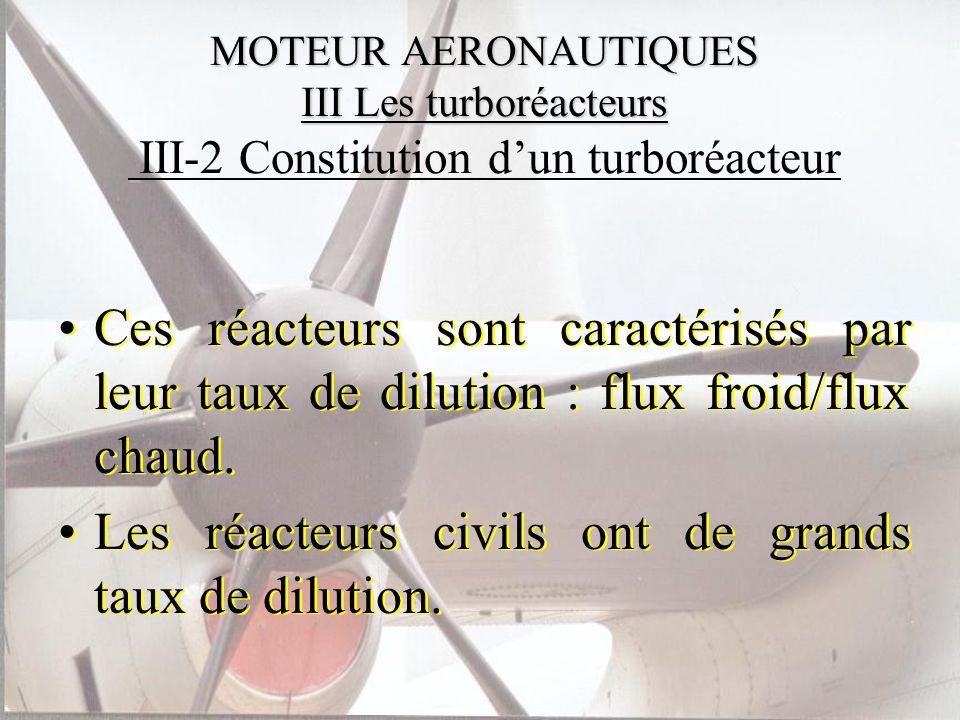 MOTEUR AERONAUTIQUES III Les turboréacteurs MOTEUR AERONAUTIQUES III Les turboréacteurs III-2 Constitution dun turboréacteur Ces réacteurs sont caract