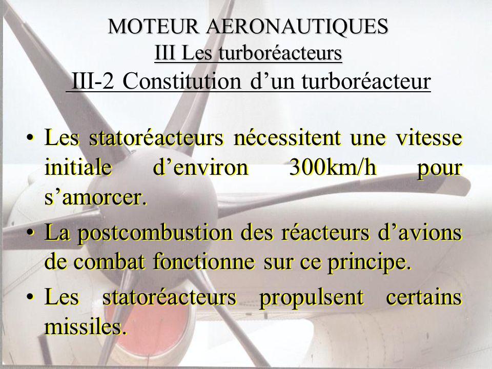 MOTEUR AERONAUTIQUES III Les turboréacteurs MOTEUR AERONAUTIQUES III Les turboréacteurs III-2 Constitution dun turboréacteur Les statoréacteurs nécess