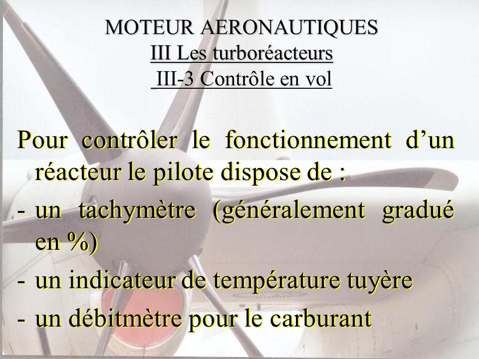 MOTEUR AERONAUTIQUES III Les turboréacteurs MOTEUR AERONAUTIQUES III Les turboréacteurs III-3 Contrôle en vol Pour contrôler le fonctionnement dun réa