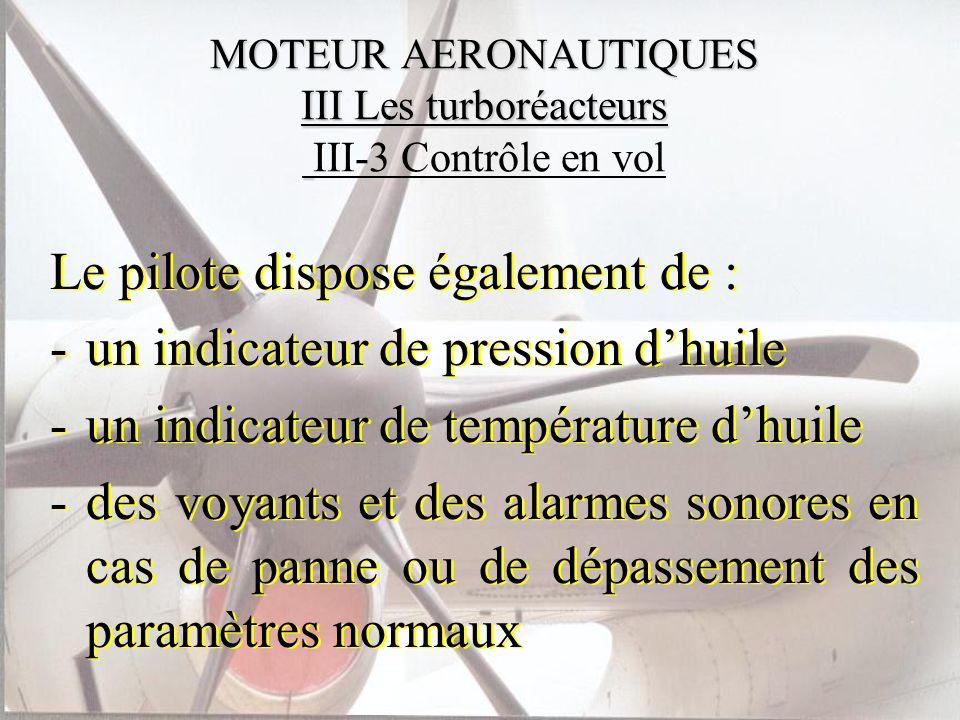 MOTEUR AERONAUTIQUES III Les turboréacteurs MOTEUR AERONAUTIQUES III Les turboréacteurs III-3 Contrôle en vol Le pilote dispose également de : -un ind