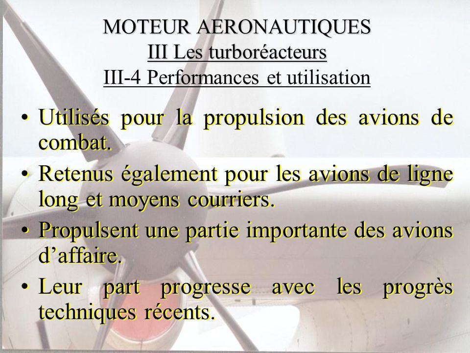 MOTEUR AERONAUTIQUES III Les turboréacteurs MOTEUR AERONAUTIQUES III Les turboréacteurs III-4 Performances et utilisation Utilisés pour la propulsion