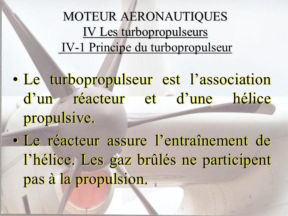 MOTEUR AERONAUTIQUES IV Les turbopropulseurs MOTEUR AERONAUTIQUES IV Les turbopropulseurs IV-1 Principe du turbopropulseur Le turbopropulseur est lass