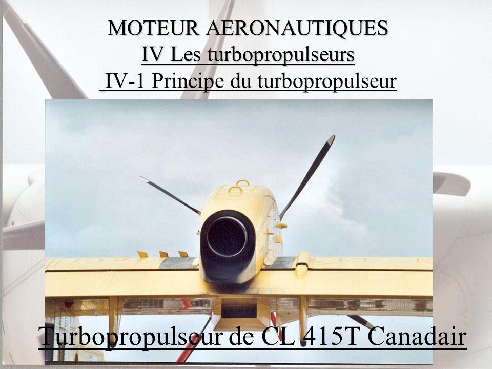 MOTEUR AERONAUTIQUES IV Les turbopropulseurs MOTEUR AERONAUTIQUES IV Les turbopropulseurs IV-1 Principe du turbopropulseur Turbopropulseur de CL 415T