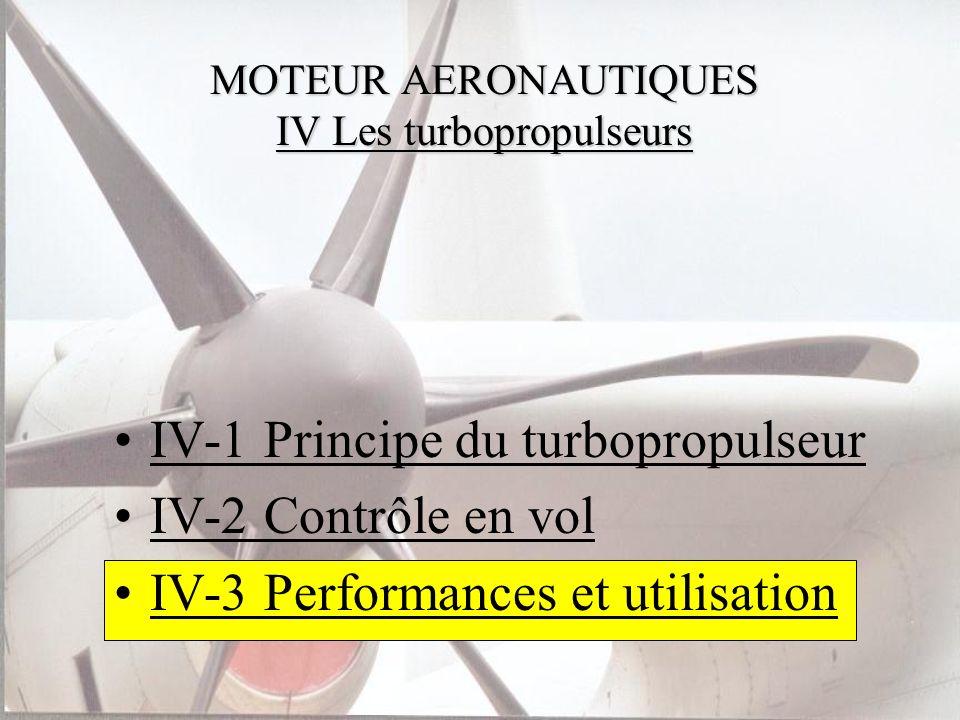 MOTEUR AERONAUTIQUES IV Les turbopropulseurs IV-1 Principe du turbopropulseur IV-2 Contrôle en vol IV-3 Performances et utilisation