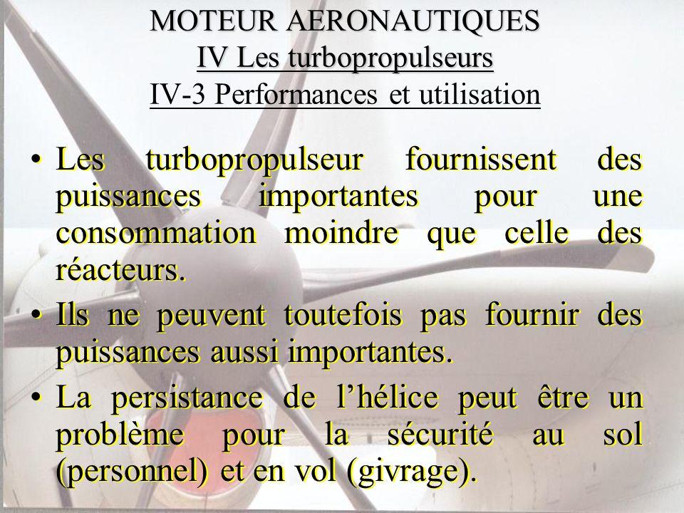 MOTEUR AERONAUTIQUES IV Les turbopropulseurs MOTEUR AERONAUTIQUES IV Les turbopropulseurs IV-3 Performances et utilisation Les turbopropulseur fournis