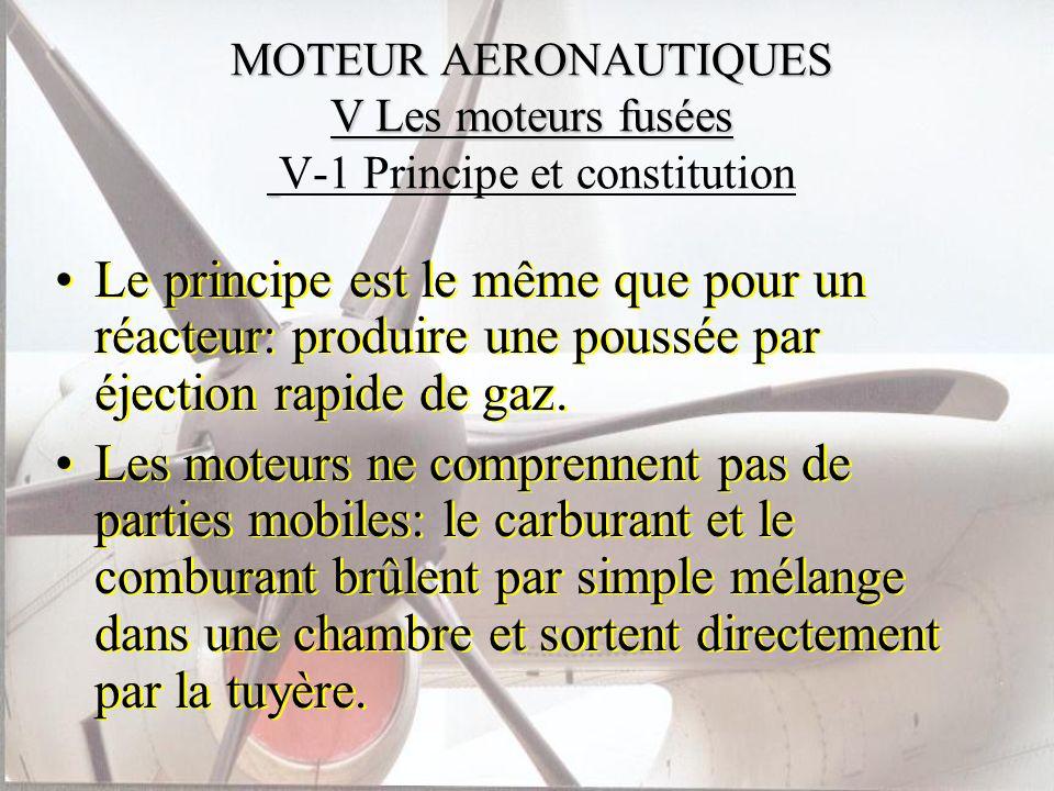 MOTEUR AERONAUTIQUES V Les moteurs fusées MOTEUR AERONAUTIQUES V Les moteurs fusées V-1 Principe et constitution Le principe est le même que pour un r
