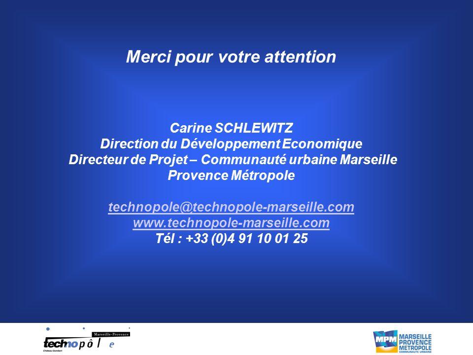 Merci pour votre attention Carine SCHLEWITZ Direction du Développement Economique Directeur de Projet – Communauté urbaine Marseille Provence Métropole technopole@technopole-marseille.com www.technopole-marseille.com Tél : +33 (0)4 91 10 01 25