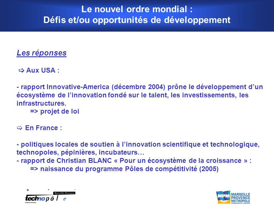 Les réponses Aux USA : - rapport Innovative-America (décembre 2004) prône le développement dun écosystème de linnovation fondé sur le talent, les investissements, les infrastructures.