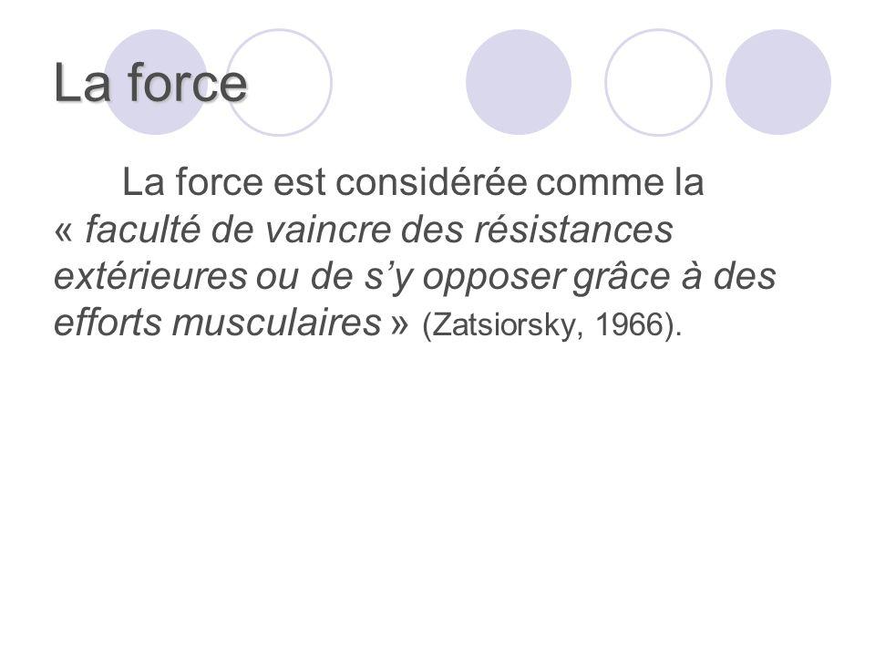 La force La force est considérée comme la « faculté de vaincre des résistances extérieures ou de sy opposer grâce à des efforts musculaires » (Zatsior