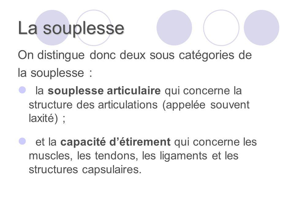 La souplesse On distingue donc deux sous catégories de la souplesse : la souplesse articulaire qui concerne la structure des articulations (appelée so