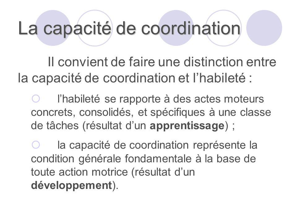 La capacité de coordination Il convient de faire une distinction entre la capacité de coordination et lhabileté : lhabileté se rapporte à des actes mo