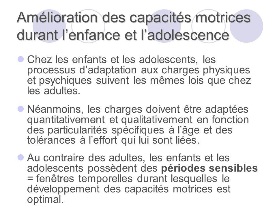 Amélioration des capacités motrices durant lenfance et ladolescence Chez les enfants et les adolescents, les processus dadaptation aux charges physiqu