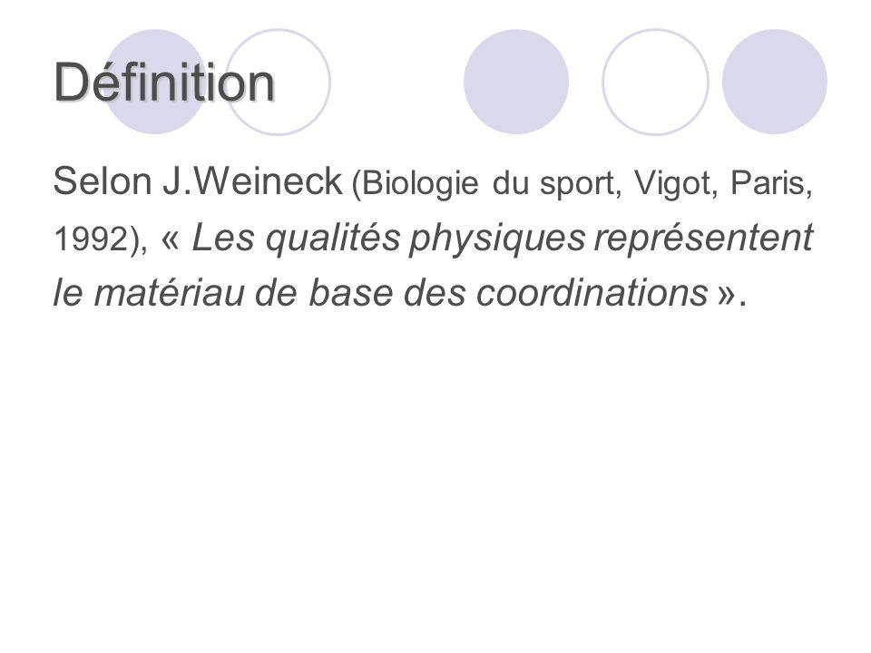 Définition Selon J.Weineck (Biologie du sport, Vigot, Paris, 1992), « Les qualités physiques représentent le matériau de base des coordinations ».