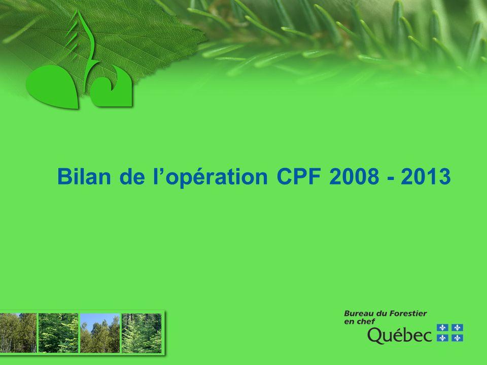 Opération CPF 2013-2018 Bilan quinquennal sur létat des forêts Janvier à mars 2007 Recrutement du personnel Définition du cadre de travail Proposition dun plan daction pour la réalisation du bilan
