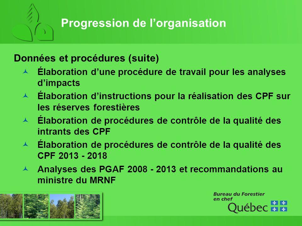 Progression de lorganisation Données et procédures (suite) Élaboration dune procédure de travail pour les analyses dimpacts Élaboration dinstructions pour la réalisation des CPF sur les réserves forestières Élaboration de procédures de contrôle de la qualité des intrants des CPF Élaboration de procédures de contrôle de la qualité des CPF 2013 - 2018 Analyses des PGAF 2008 - 2013 et recommandations au ministre du MRNF