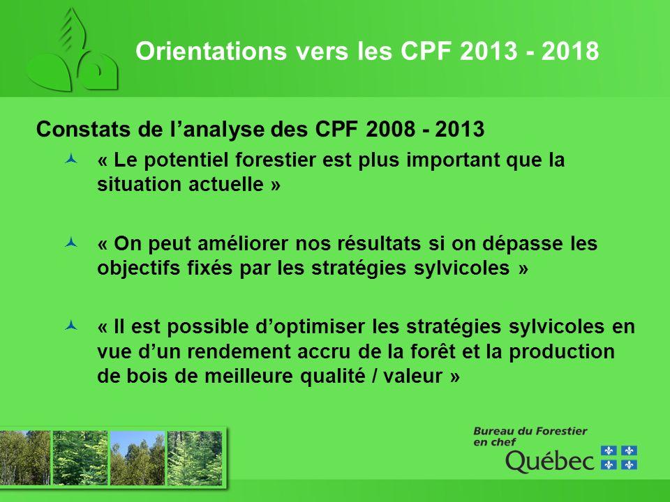 Orientations vers les CPF 2013 - 2018 Constats de lanalyse des CPF 2008 - 2013 « Le potentiel forestier est plus important que la situation actuelle » « On peut améliorer nos résultats si on dépasse les objectifs fixés par les stratégies sylvicoles » « Il est possible doptimiser les stratégies sylvicoles en vue dun rendement accru de la forêt et la production de bois de meilleure qualité / valeur »