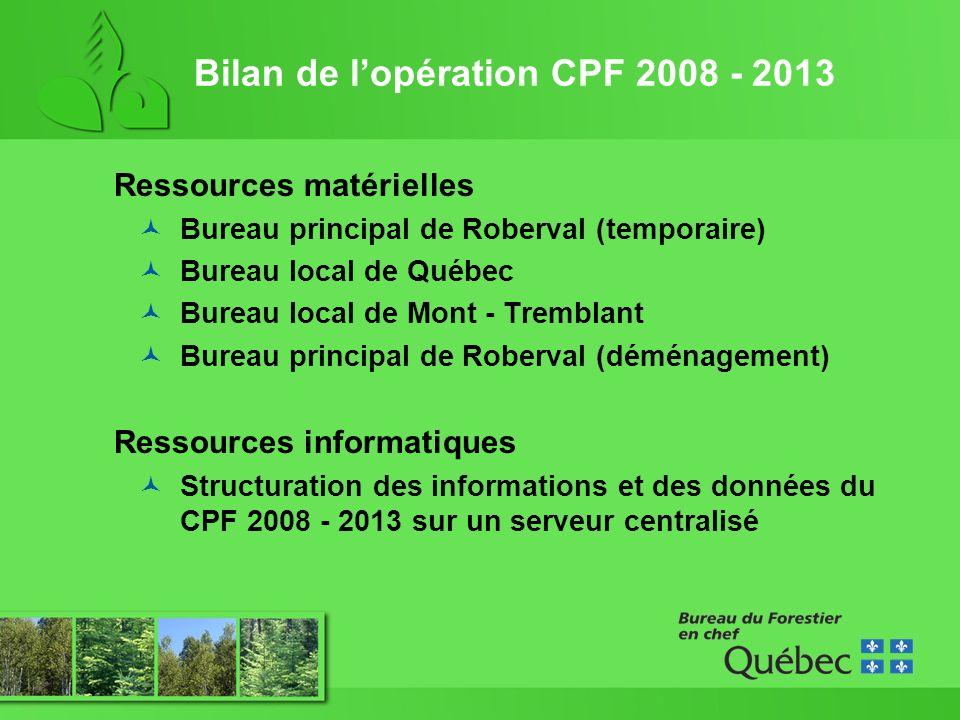 Bilan de lopération CPF 2008 - 2013 Ressources matérielles Bureau principal de Roberval (temporaire) Bureau local de Québec Bureau local de Mont - Tremblant Bureau principal de Roberval (déménagement) Ressources informatiques Structuration des informations et des données du CPF 2008 - 2013 sur un serveur centralisé