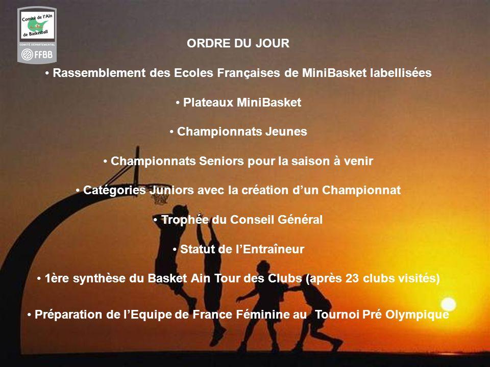 2 ORDRE DU JOUR Rassemblement des Ecoles Françaises de MiniBasket labellisées Plateaux MiniBasket Championnats Jeunes Championnats Seniors pour la sai